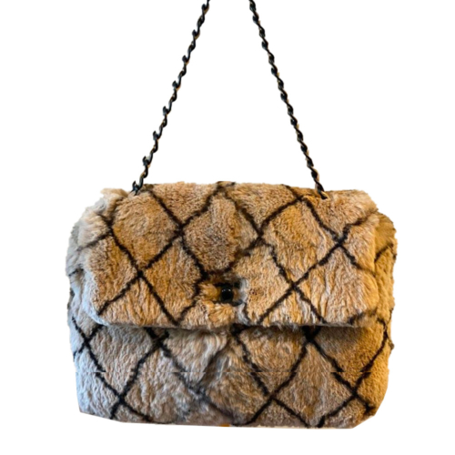 Chanel Limited Edition Chanel Matelasse CC Lock Rabbit Fur Bag