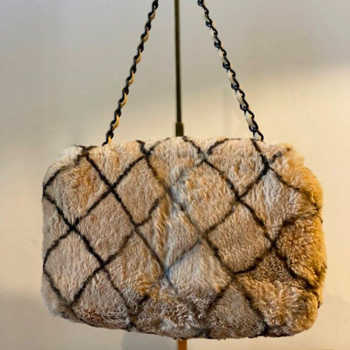 Chanel Limited Edition Chanel Matelasse CC Lock Rabbit Fur Bag