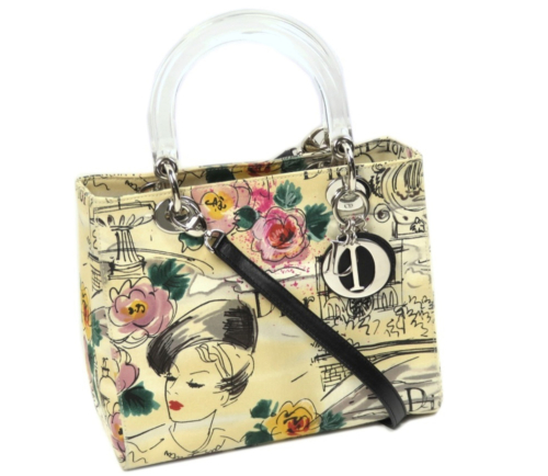 Dior Lady Dior Printed Canvas Satchel