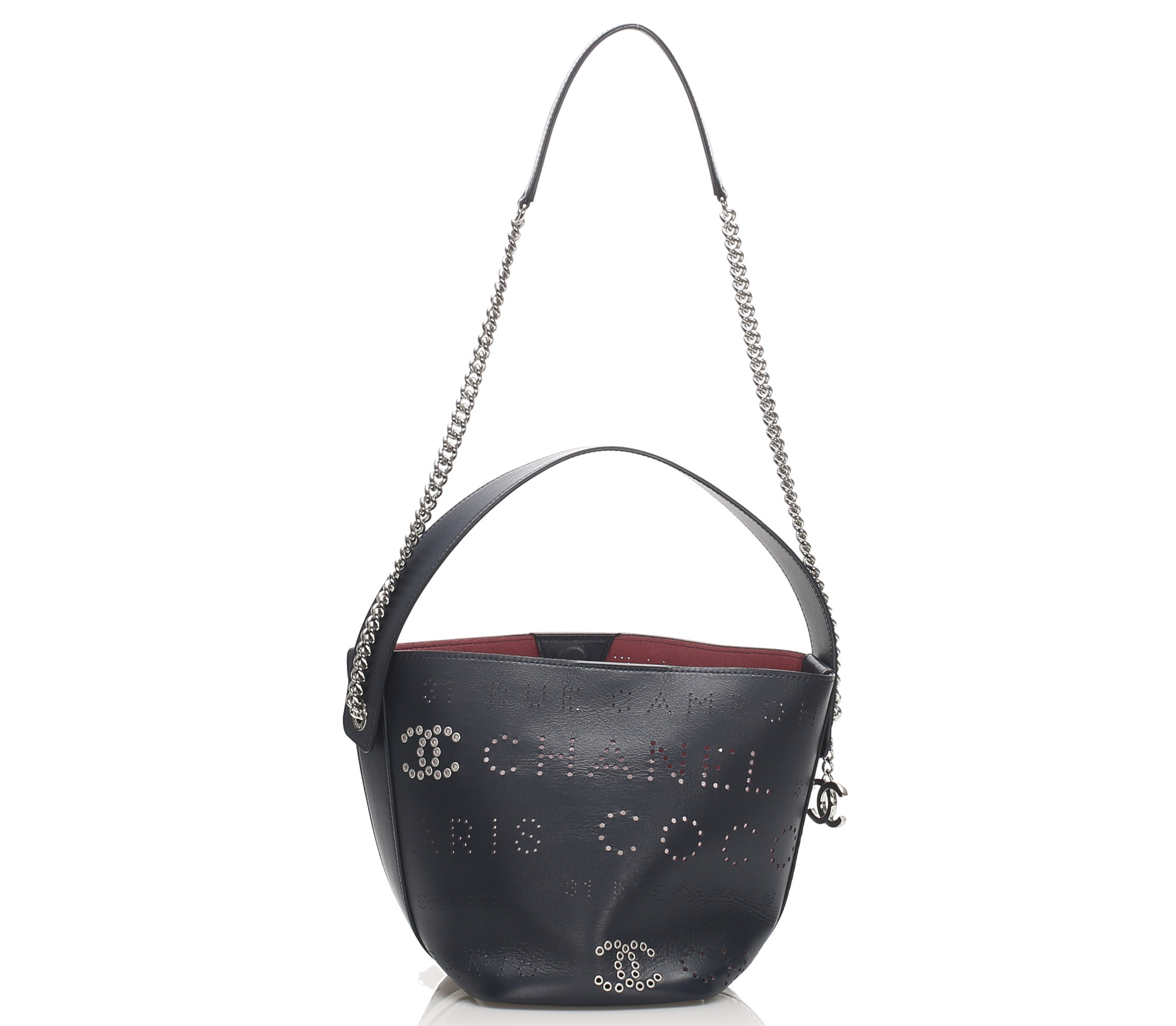 Chanel Eyelets Logo Leather Bucket Bag