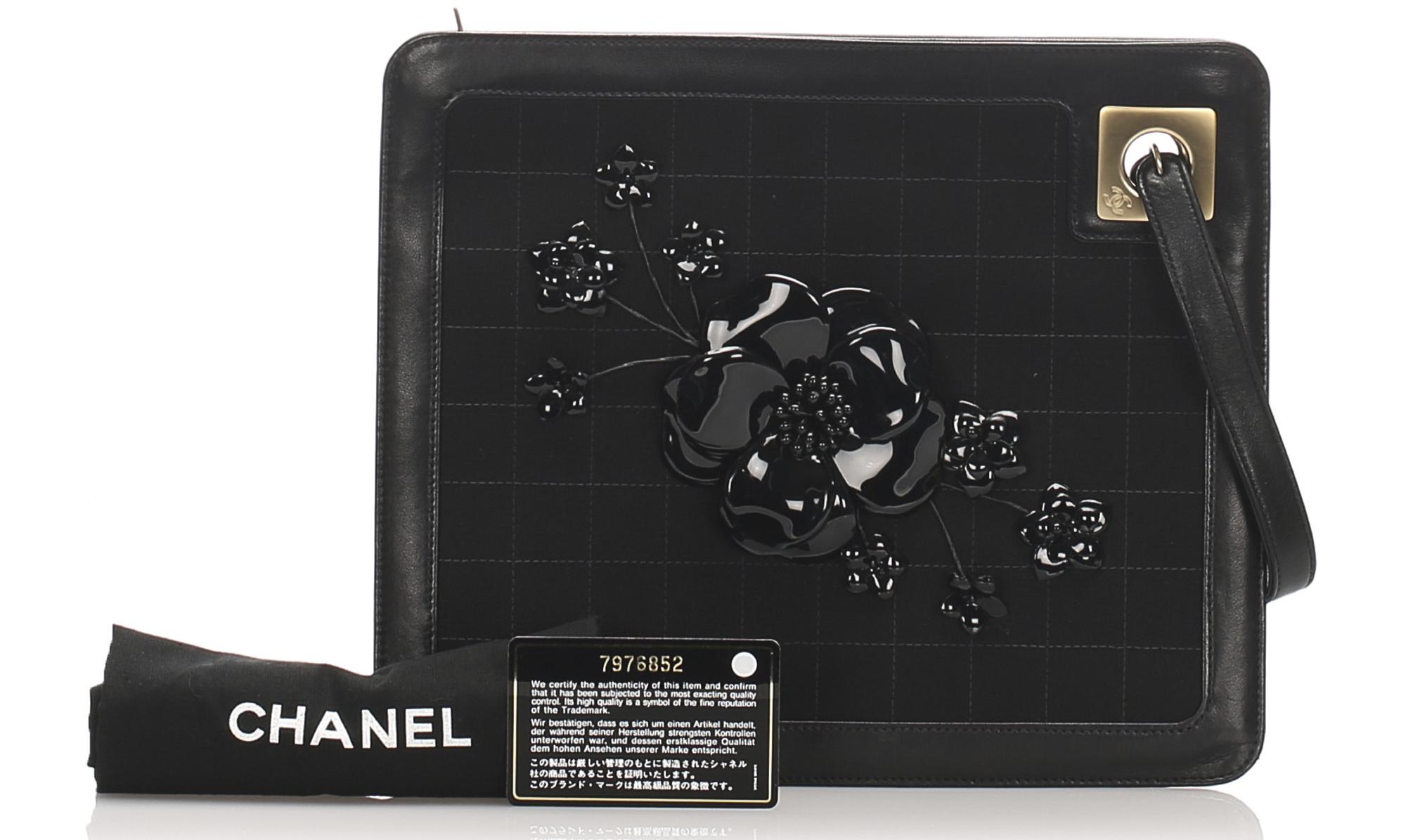 Chanel Choco Bar Camellia Suede Clutch
