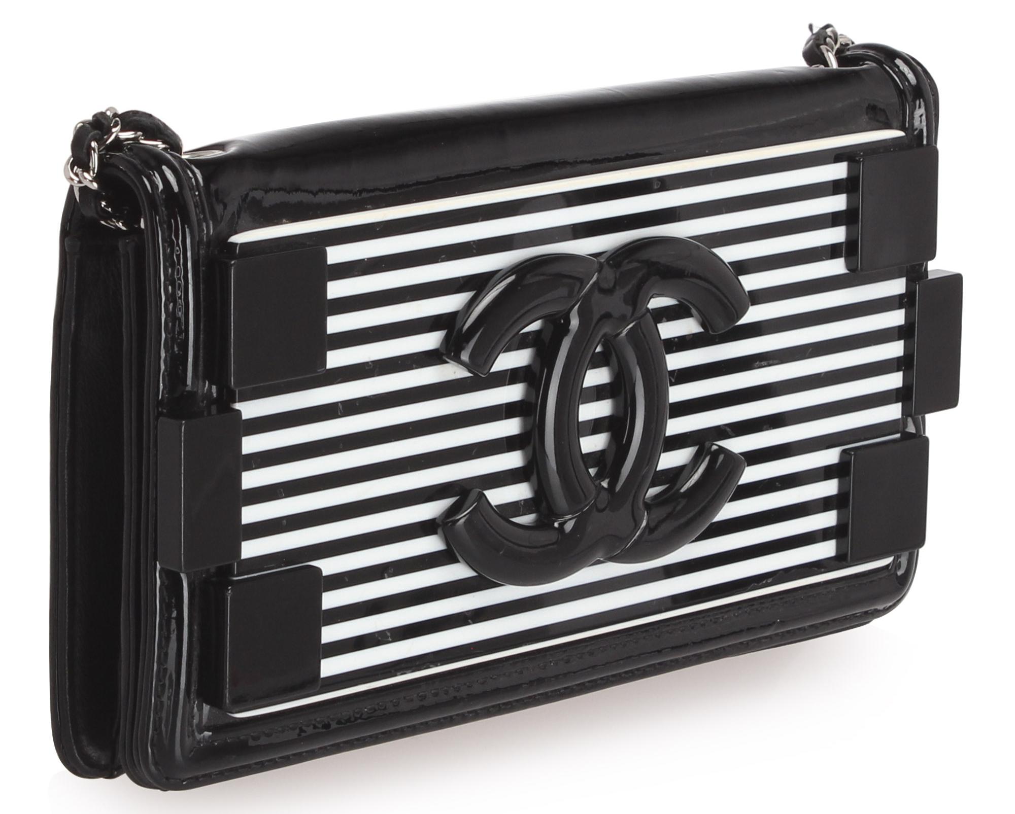 Chanel Boy Brick Chain Patent Leather Crossbody Bag