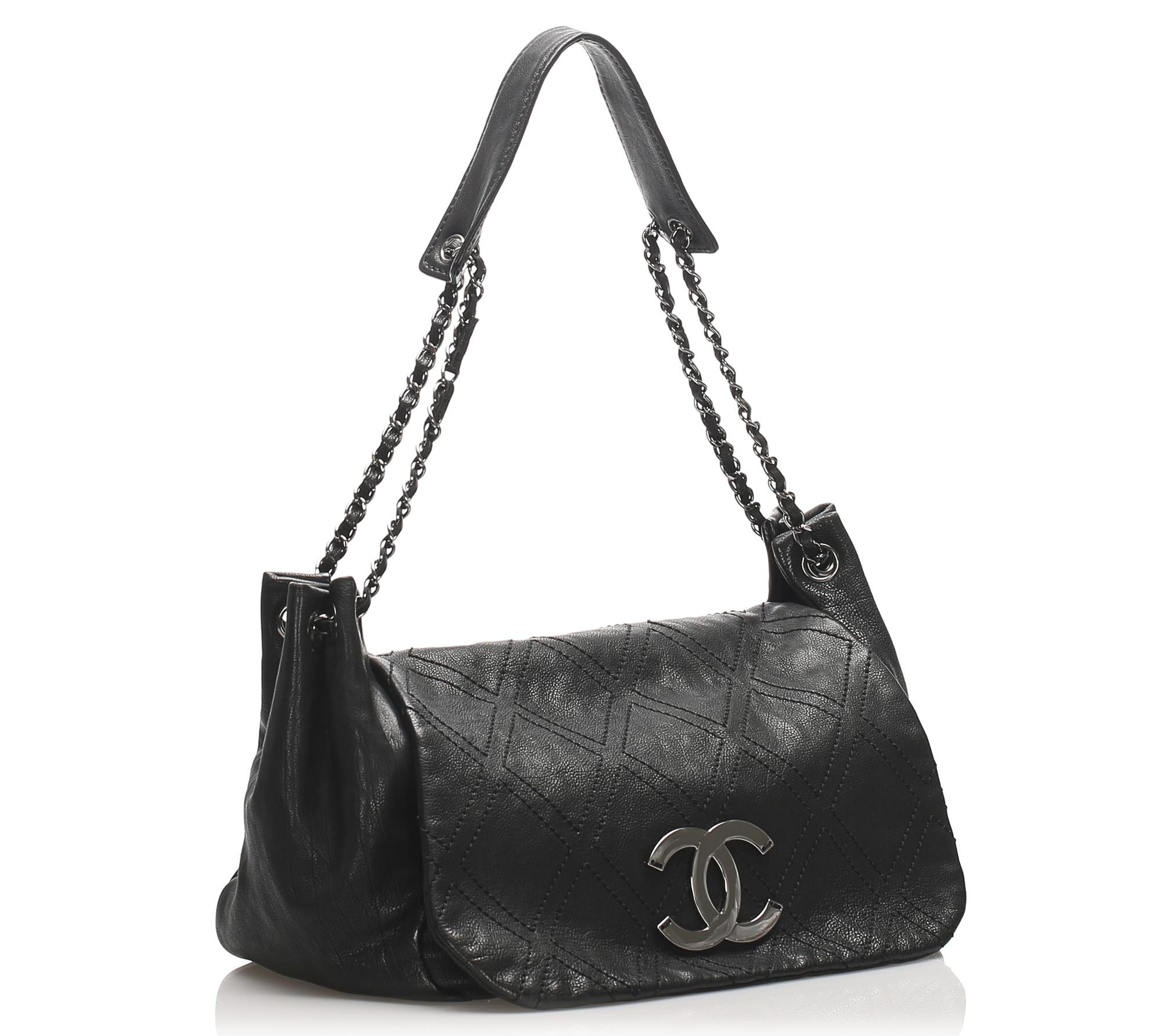 Chanel Accordion Flap Tas Leer