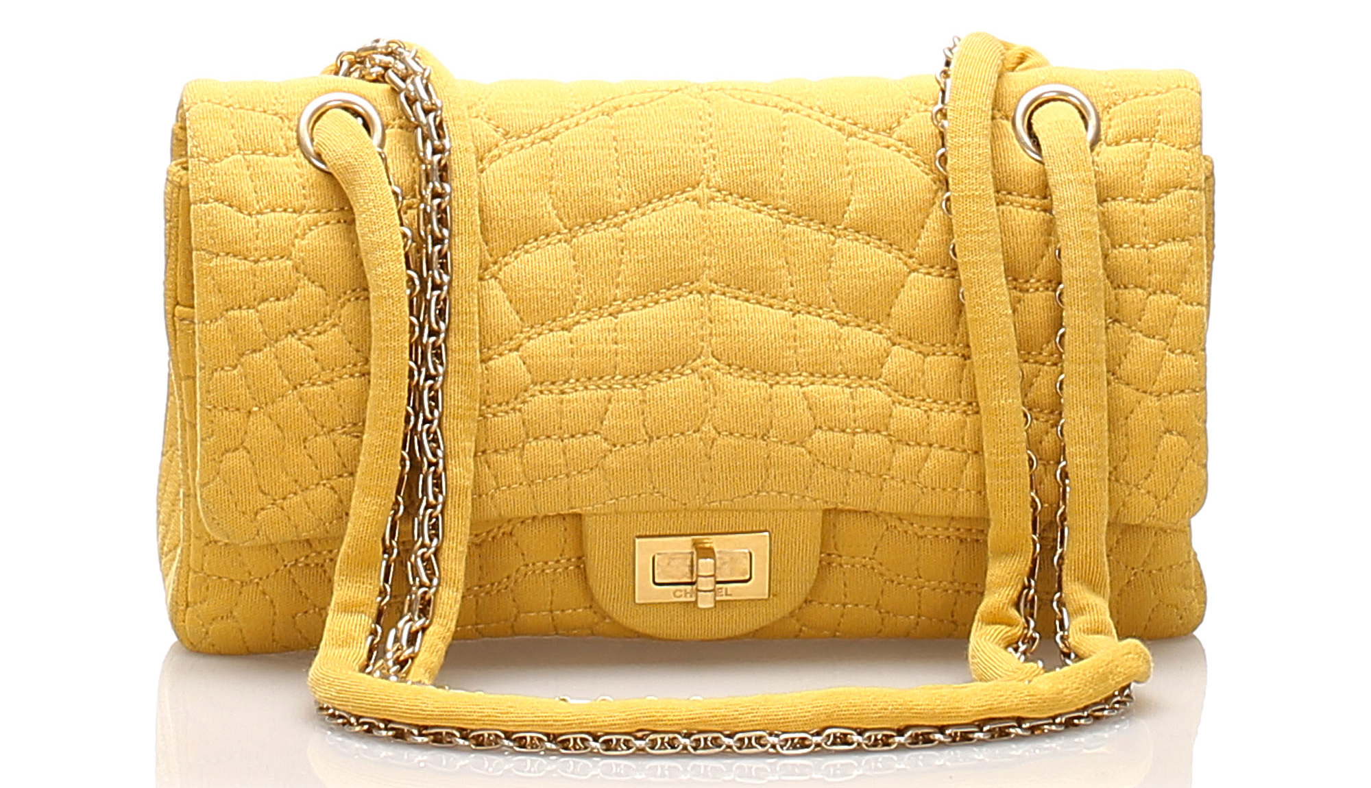 Chanel Reissue Croc Stitch Cotton Double Flap Bag