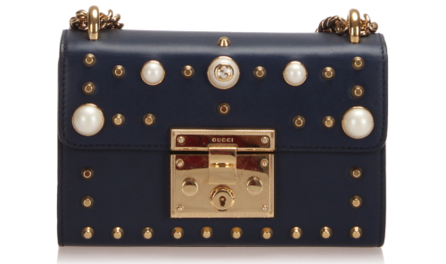 Gucci Small Studded Padlock Leather Crossbody Bag