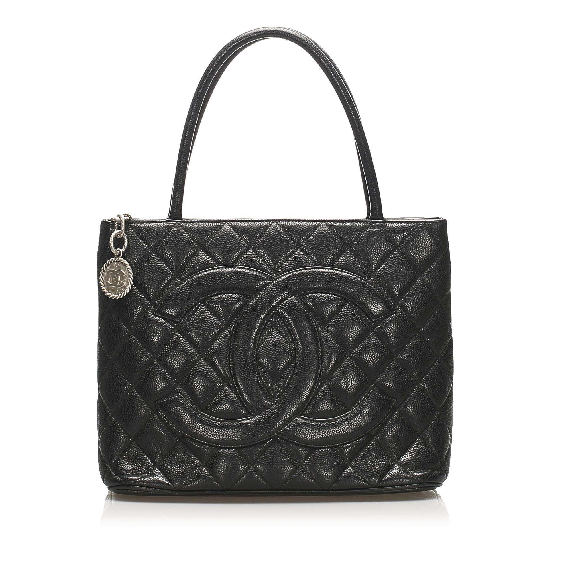 Chanel Medallion Caviar Leather Tote Bag