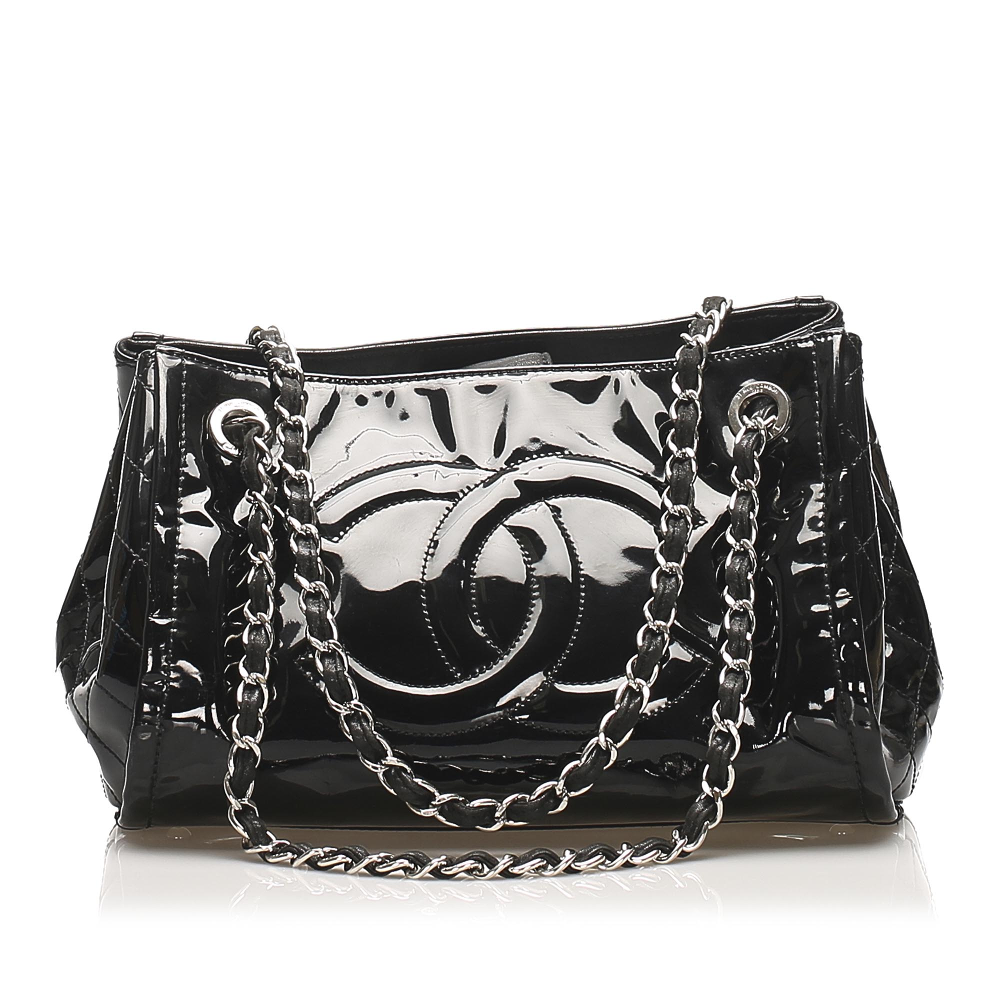 Chanel CC Patent Leather Tote Bag