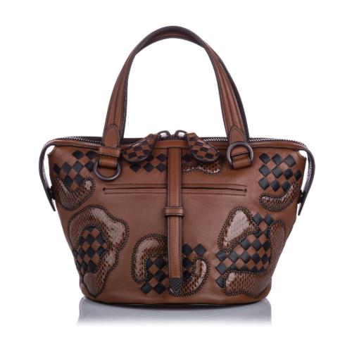 Bottega Veneta Paisley Checker Tambura Leather Satchel